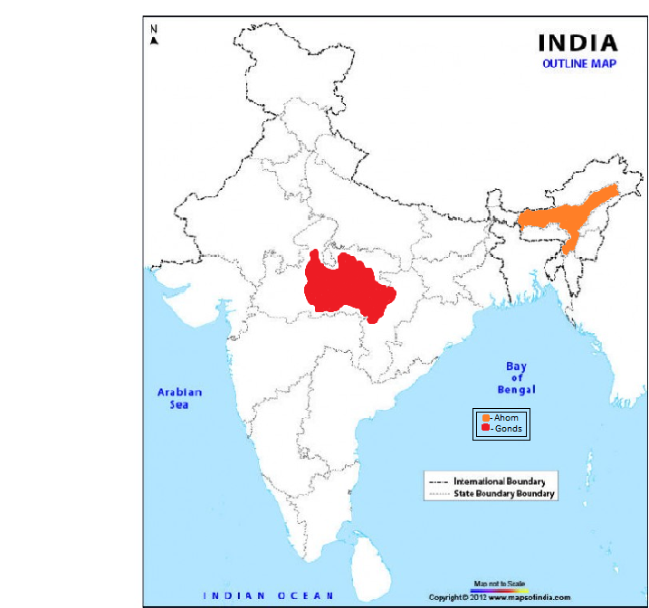 Mark ahoms and gonds on outline map of india 9031191 meritnation ahoms and gonds gumiabroncs Images