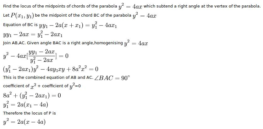 Find The Locus Of The Mid Points Of The Chords To The Parabola Y2
