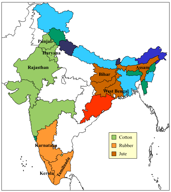 Major producer states ofCOTTON, RUBBER,JUTEin india map Social ...