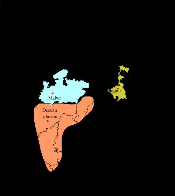 Mark the Deccan, Malwa and Chhota Nagpur Plateau on a Physical ... Deccan Plateau On Map on