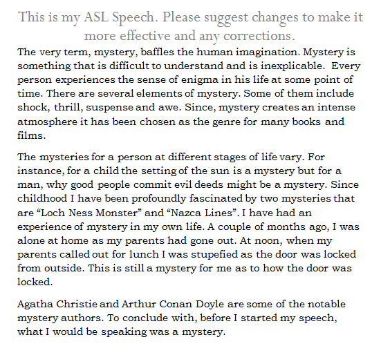 speech for asl class 9