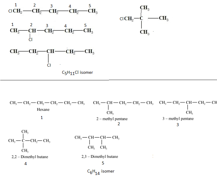 Draw the possible isomers for (i) C5H11Cl (ii) C6H14 ...
