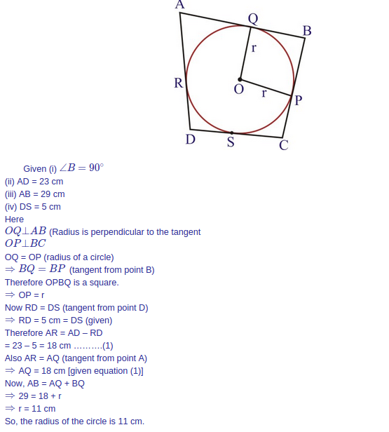 A circle with centre o is inscribed in a quadrilateral abcd such expert answer ccuart Images