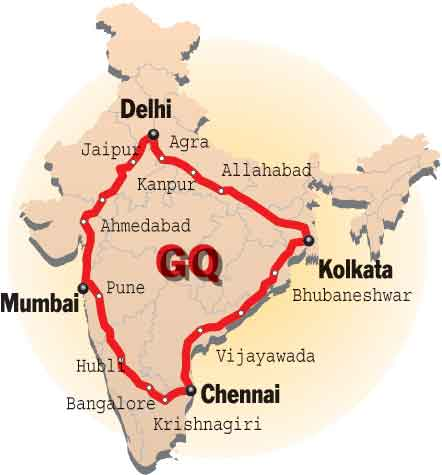 Golden Quadrilateral Map Mark golden quadrilateral in map   Social Science   Life Lines of