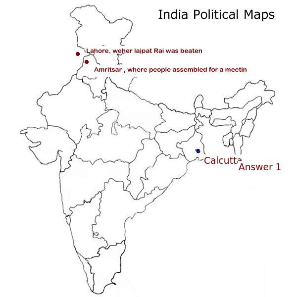 I On the political map of India locate the following1 Where was the