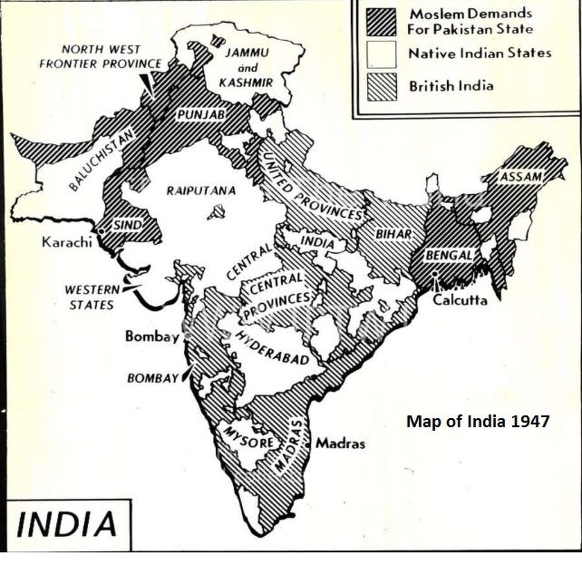 Difference Between The Indian Map Of 1947 And 2013 Social Science