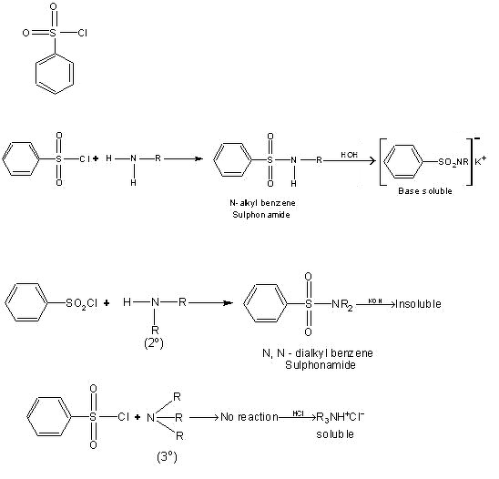 Reaction of amines with benzenesulphonyl chloride to
