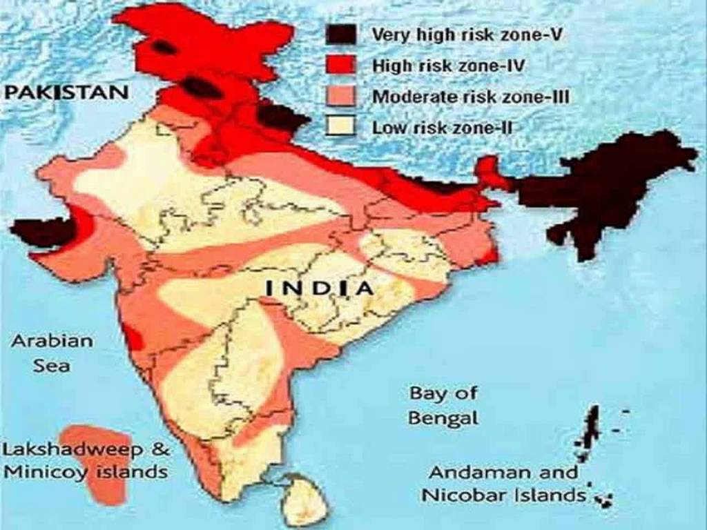 Show Earthquake Zones In India On A Physical Map Of India Social