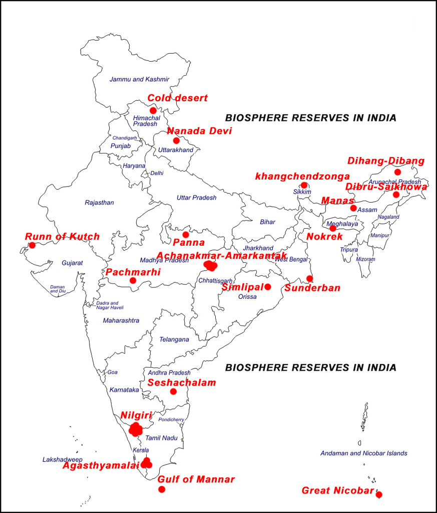 Biosphere Reserves In India Map locate 14 biosphere reserves on india's map   Social Science  Biosphere Reserves In India Map