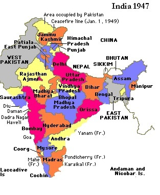Show map of India in 1947 and compare it with Indian ... India Map on india and pakistan history, india pakistan migration, india 1800s, india before pakistan, india and pakistan independence, india pakistan 1947, india after independence, india and pakistan conflict 2013, india colonial period, india split, india before 1947, india during british rule, india after partition, india in 1947,