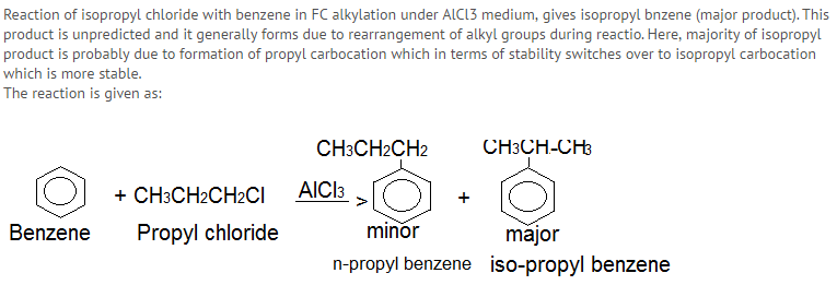 NEET EXAM 3 Benzene reacts with n-propyl chloride in the presence