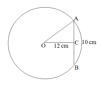 Distance Of A Chord Ab Of A Circle From The Center Is 12cm And