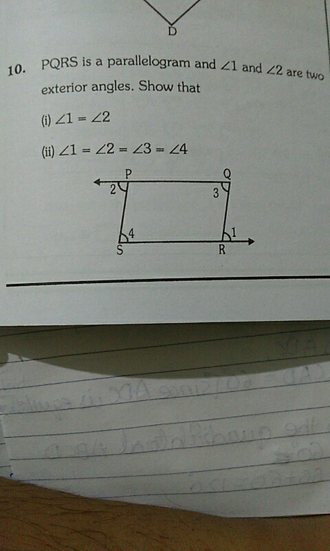 pqrs is a parallelogram and angle 1 and angle 2 are two exterior