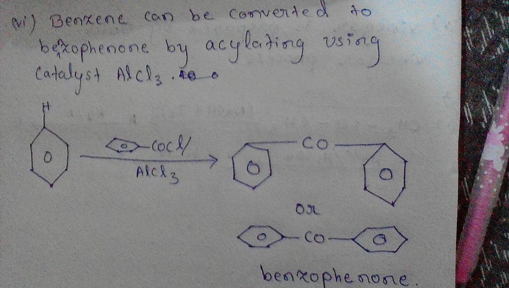 Image result for benzene to benzophenone