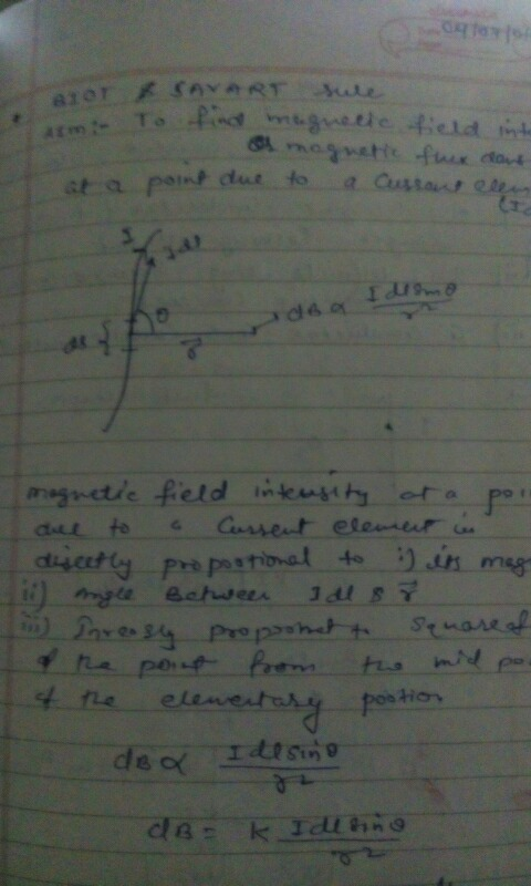 Derivation for Biot Savart Law - Physics - Moving Charges And