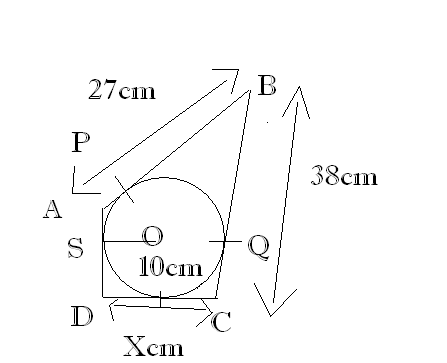 In the adjoining fig quadrilateral abcd is circumscribed if the in the adjoining fig quadrilateral abcd is circumscribed if the radius of the incircle with centre o is 10cm and ad perpedicular to dc find the value ccuart Images