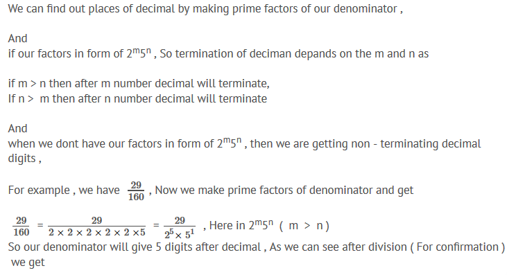 how to find the number of decimal places after which a given