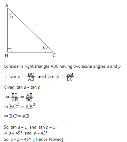 If angle A and angle P are acute angles such that tan A =tan