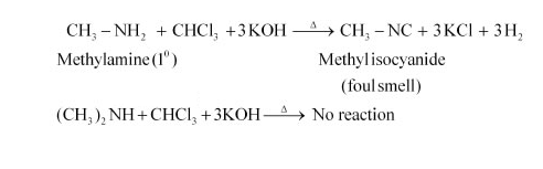 Which test is used to distinguish between methylamine and