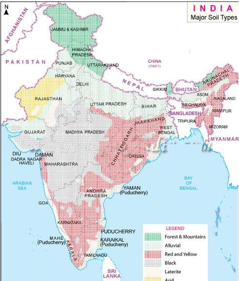 Types of soils found in maharashtra with map in brief for Soil in india