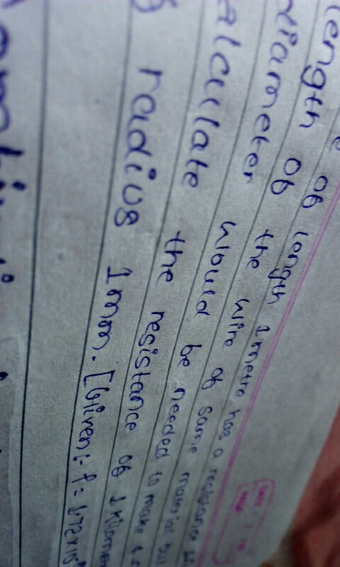 A wire of length 1metre has resistance 1ohm What length of wire of ...