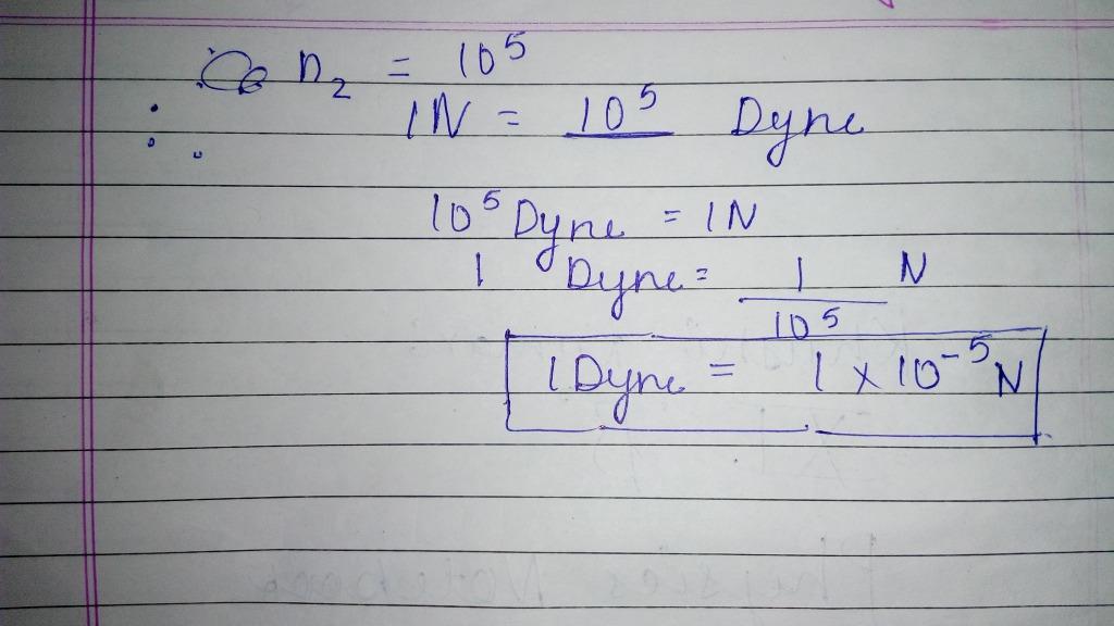 convert 1 dyne into newton using dimensional analysis