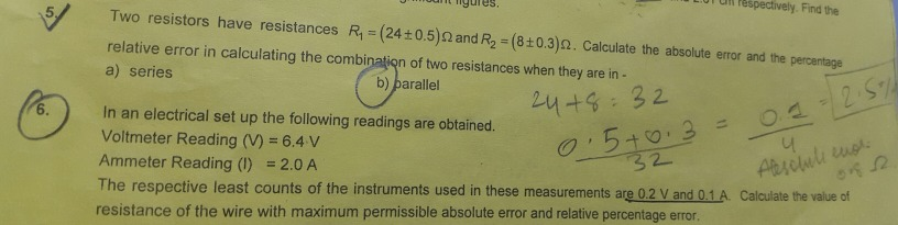 Hi This Question Is From Errors And Measurement I Am Having Trouble
