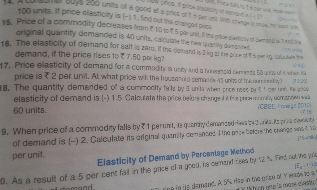 Sandeep Garg Elasticity Of Demand Ques 18 Unas F A 100 U Xts F Pr Ce S 1 15 Of Economics Introduction 11310535 Meritnation Com