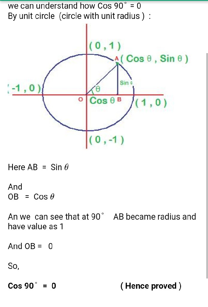 How To Prove Cos 90 Is 0 How Sin 90 Is 91 Math Introduction To Trigonometry 13529223 Meritnation Com