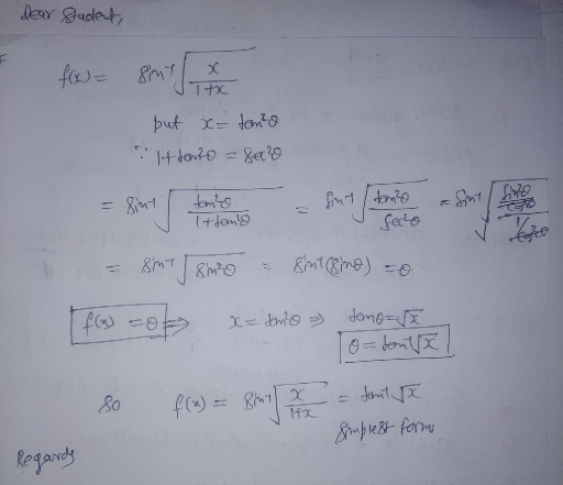 simplest form functions  sin^-133 sqrt(x/(133+x)) write the function in simplest form ...