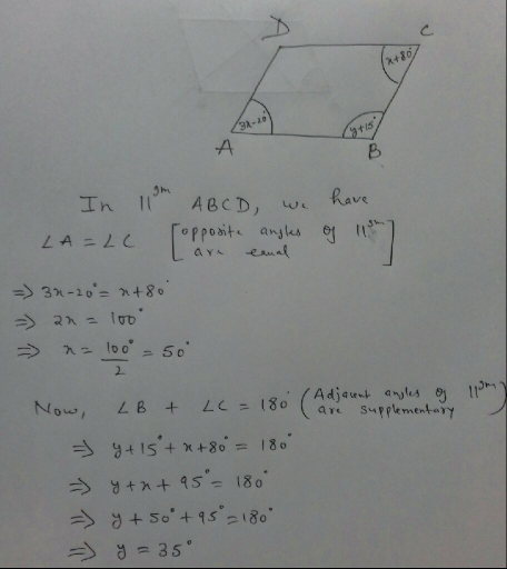 In the given figure ABCD is a parallelogram Find values of ...