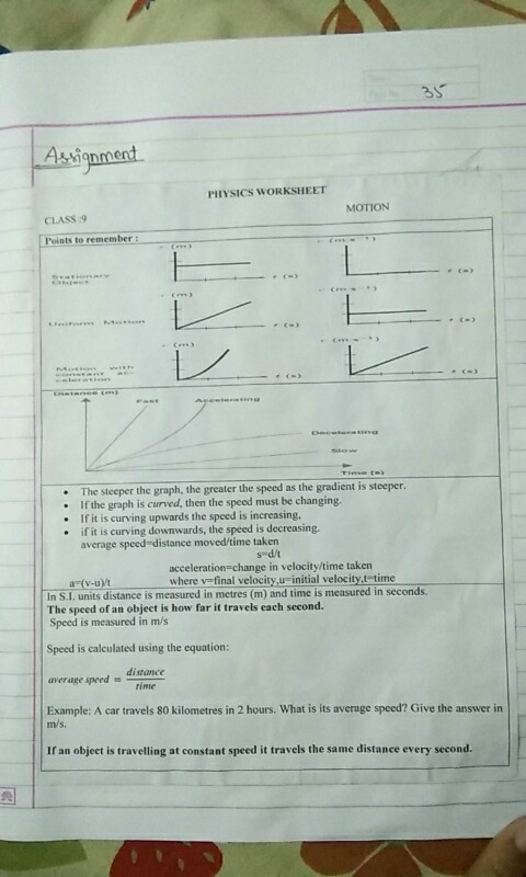 Solve this: rnvsncs wouKsuEET MOTION CIASS 9 the graph the
