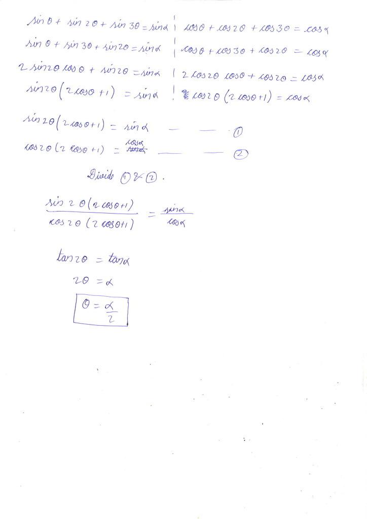 Sin Theta Sin 2 Theta Sin 3 Theta Sin Alpha And Cos Theta Cos 2 Theta Math Trigonometric Functions 11492675 Meritnation Com