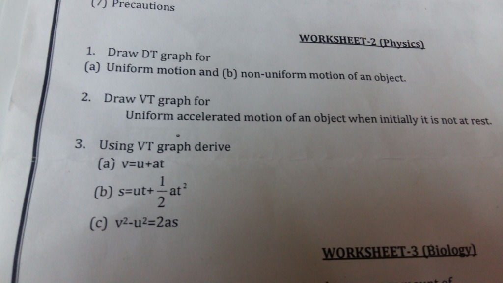 Solve this: J Precautions I Draw DT graph for (a) Uniform motion and ...