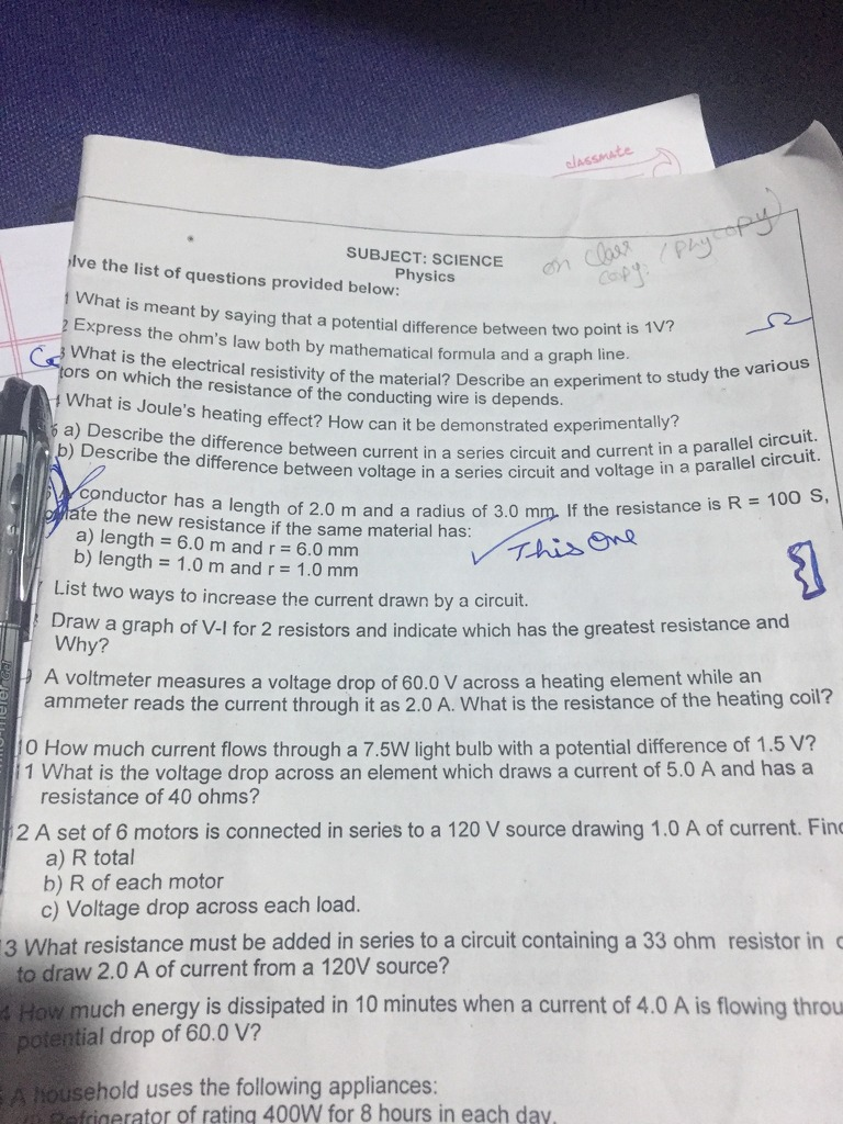 Please Calculate The One Which Is Marked Aka 6th Question Science Describe A Series Circuit