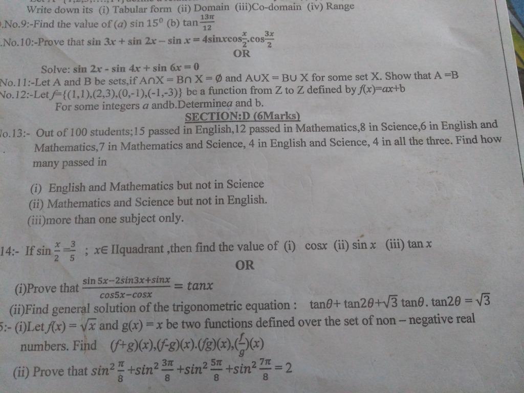 Plz Solve Q13 Fast Write Down Its I Tabular Form Ii Domain Iii