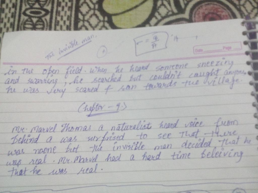 class 12 english novel the invisible man summary in hindi