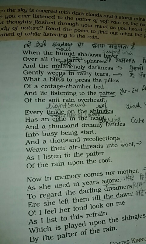 I want complete explaination of the poem rain on the roof the sky is