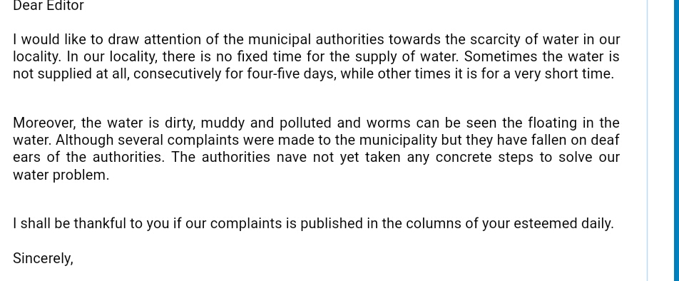 Write a letter to the Editor of National daily about Water