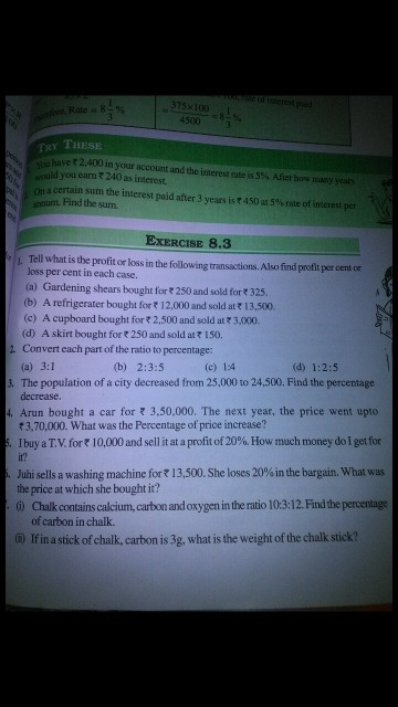 Solve this: 2 in EXERCISE is the cent 325 Con vat h O f [be ratio to