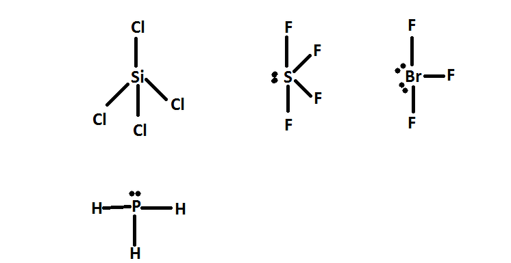 Shape of SF4, SiCl4, NO+2, PH3, BrF3 - Chemistry ...