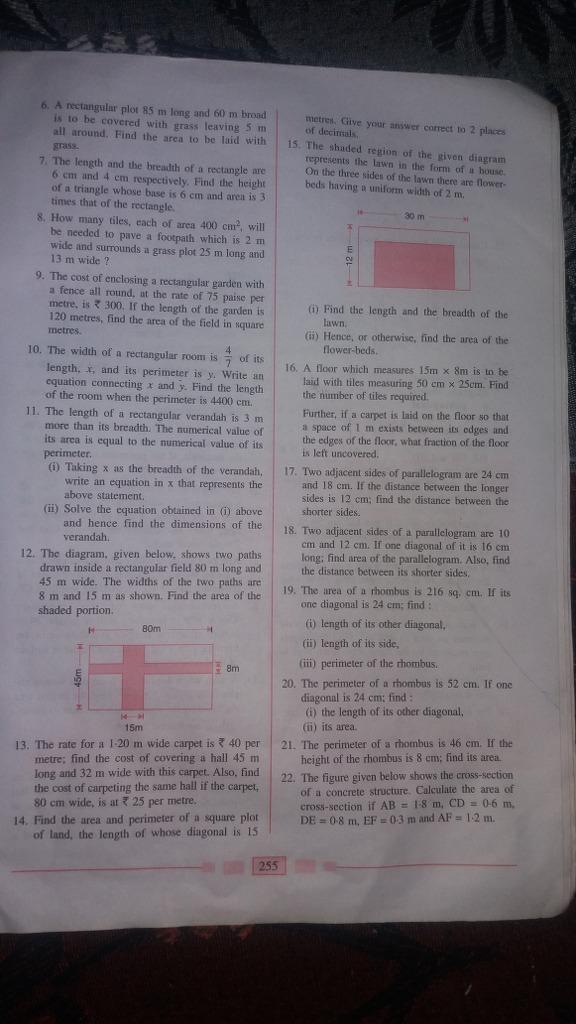 Area And Perimeter Of Plane Figure, Popular Questions: ICSE