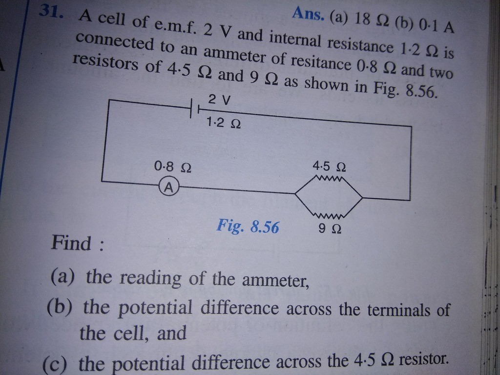 31 A Cell Of E M F 2 V And Internal Resistance 1 Ohm Is Connected Potential Difference In Circuits B The Across Terminals C 45
