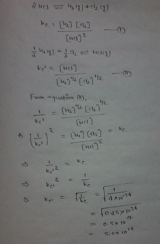 The equilibrium constant (Kc) for the reaction 2HCl(g) ↔ H2