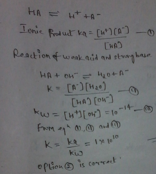 a weak acid reacts with strong base ionisation constant of ...