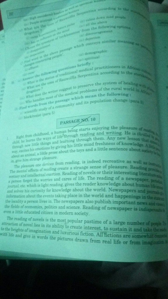Anyone knows the answers of unseen passage no 10 class 11