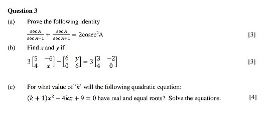 Quadratic Equation Class 10 Test Paper Icse