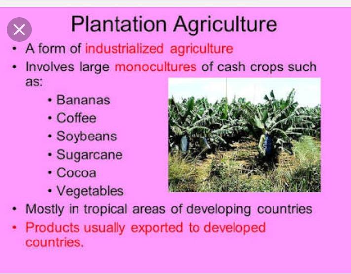 Define plantation agriculture Explain any four ...
