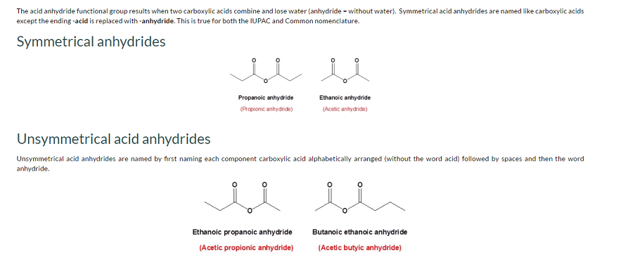 explain the nomenclature of acid anhydrides - Chemistry - Organic