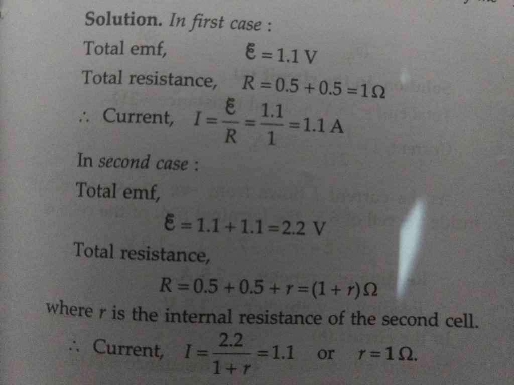 A cell of emf 1 1 V and internal resistance 0 5 Ω is connected to a ...